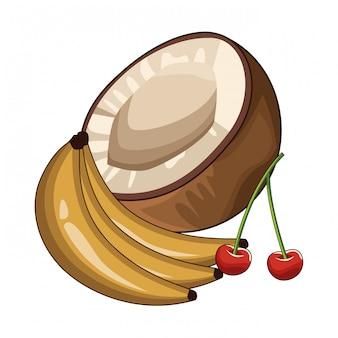 Kokosnussbanane und kirschen