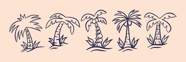 Kokosnussbaum im tropischen ort mit retro-stil illustration