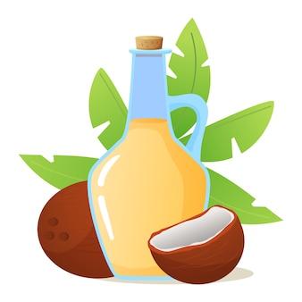 Kokosöl in glasflasche. kokosnüsse ganze und gebrochene nuss mit palmwedelblättern. bio gesundes produkt