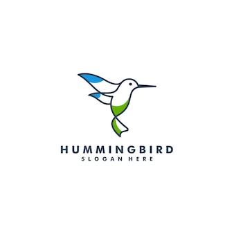 Kolibri-logo, tier fliegendes linienkunst-logo