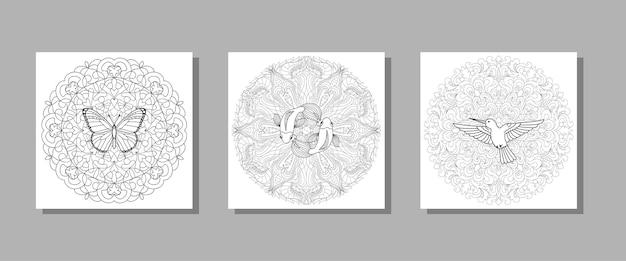 Kolibri-schmetterling und fische mandala-set für textil- und t-shirt-drucke tattoo-malbücher