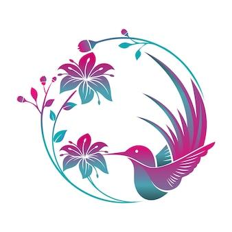 Kolibri vogel blume tropisches logo