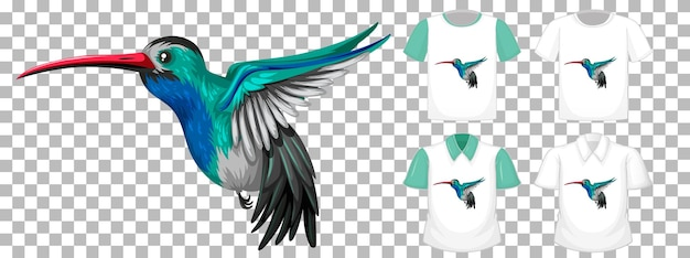 Kolibri-zeichentrickfigur mit vielen arten von hemden auf transparentem hintergrund