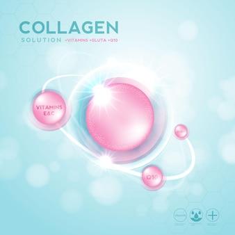 Kollagenserum und vitamin-hyaluronsäure-hautlösungen mit kosmetischem werbehintergrund Premium Vektoren
