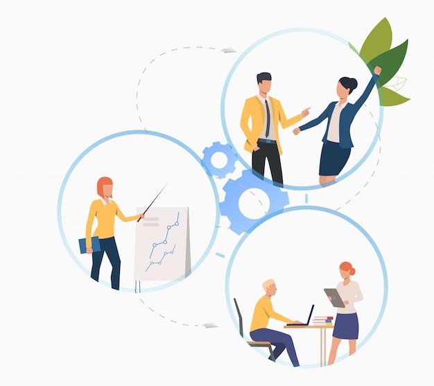 Kollegen, die an projekt arbeiten und analytik darstellen