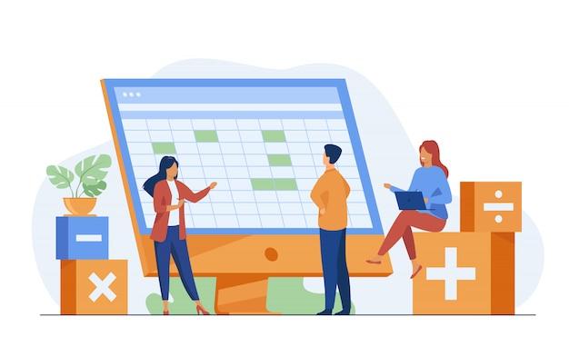 Kollegen diskutieren buchhaltungsstatistiken mit software