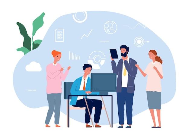 Kollegen helfen bei der arbeit. gegenseitige hilfe, teamwork. business-team brainstorming-vektor-illustration. geschäftliche hilfe und unterstützung, unterstützung der teamarbeit