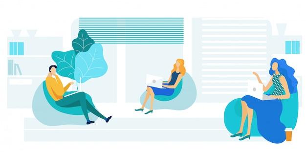 Kollegen in der sitzsack-stuhl-vektor-illustration