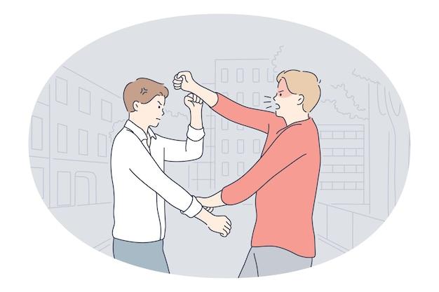Kollegen kämpfen miteinander und hören auf beschwerden