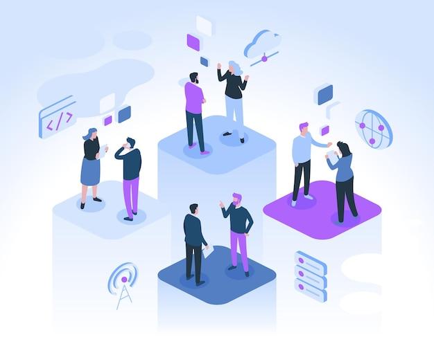 Kollegen kommunizieren im büro. mann und frau unterhalten sich, beraten sich, arbeiten gemeinsam an projekten.
