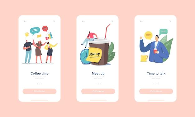 Kollegen meetup mobile app-seite onboard-bildschirmvorlage. geschäftsleute charaktere firmenmitarbeiter kaffeepause, menschen kommunizieren, chatten, zeit verbringen konzept. cartoon-vektor-illustration