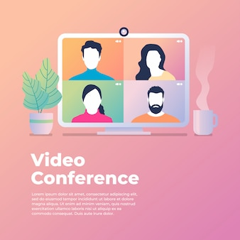 Kollegen sprechen auf dem computerbildschirm miteinander. konferenzvideoanruf von zu hause aus.
