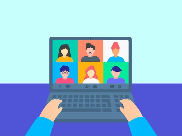 Kollegen sprechen miteinander über videoanrufe, online-klasse. von zu hause aus arbeiten. Premium Vektoren
