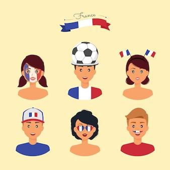 Kollektion der französischen fans bereit für das spiel
