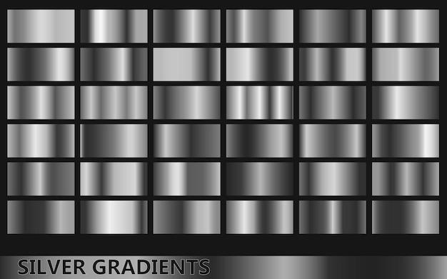 Kollektion dunkler silberner farbverläufe mit verschiedenen goldenen farben
