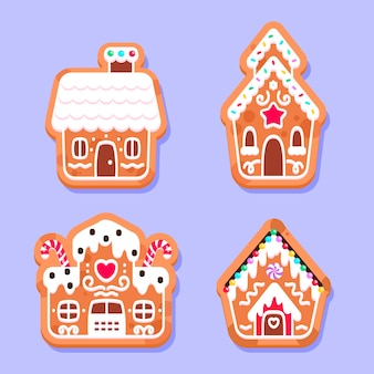 Kollektion flacher lebkuchenhäuser