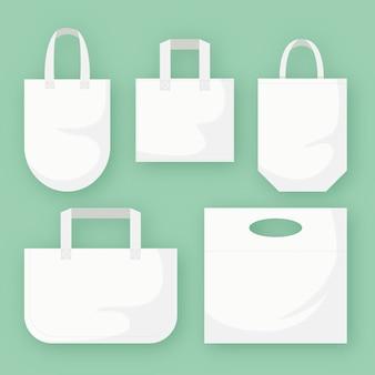 Kollektion flacher stofftaschen