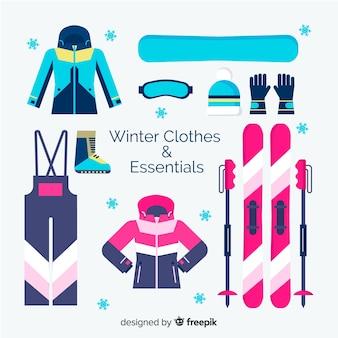 Kollektion für winterbekleidung und -utensilien