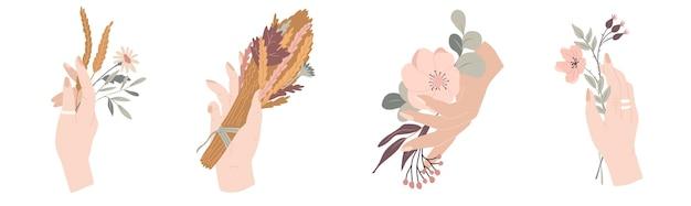 Kollektion herbstblumenkompositionen hand mit herbstblumenstrauß vektorillustration