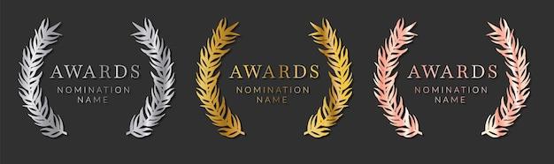 Kollektion metallischer abzeichen für nominierte auszeichnungas