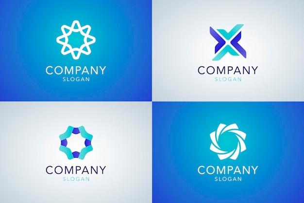 Kollektion mit blauem firmenslogan