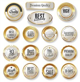 Kollektion mit goldenen etiketten in premiumqualität