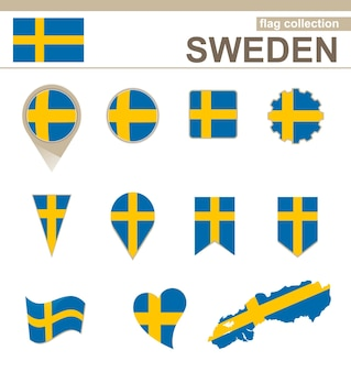 Kollektion mit schwedischer flagge, versionen