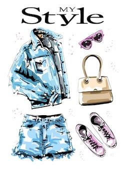 Kollektion stilvoller kleidung mit jeansjacke
