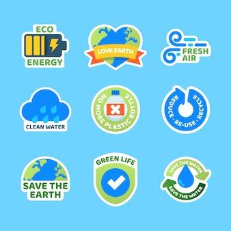 Kollektion von abzeichen für den klimawandel im flachen design