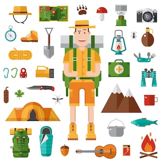 Kollektion von camping- und wanderdesignelementen mit backpacker-mann und abenteuerzeug