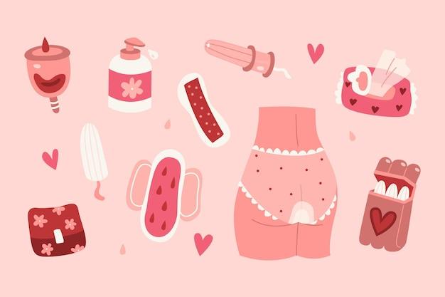 Kollektion von damenhygieneprodukten