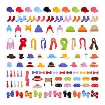 Kollektion von kleidung und accessoires - mützen, schals, handschuhe.
