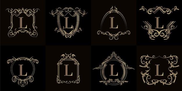 Kollektion von logo-initialen l mit luxuriösem ornament oder blumenrahmen