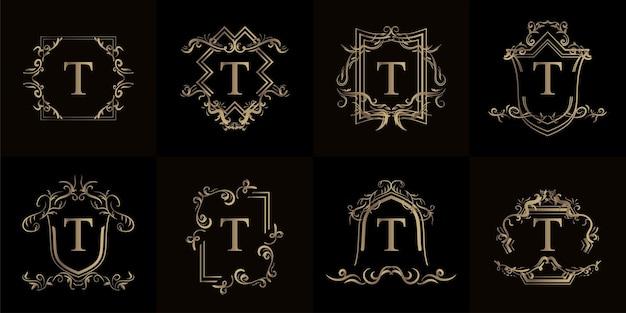 Kollektion von logo-initialen t mit luxuriösem ornament oder blumenrahmen