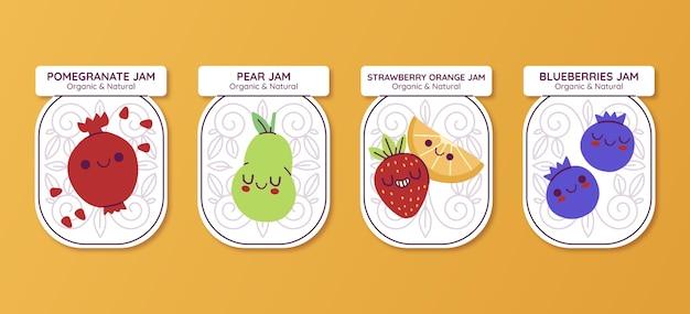 Kollektion von marmeladenabzeichen im flachen design