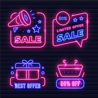 Kollektion von neon-verkaufszeichen