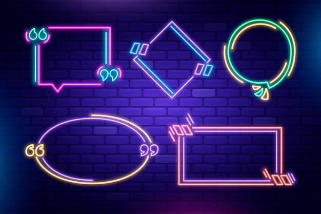 Kollektion von neonrahmen