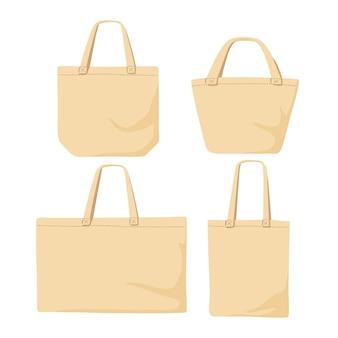 Kollektion von stofftaschen im flachen design