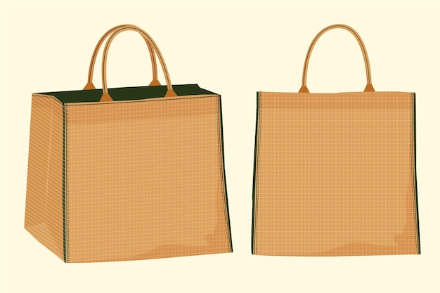 Kollektion von stofftaschen mit flachem design