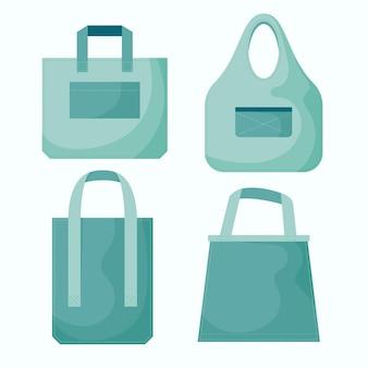 Kollektion von umweltfreundlichen stofftaschen