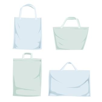 Kollektion von weißen stofftaschen
