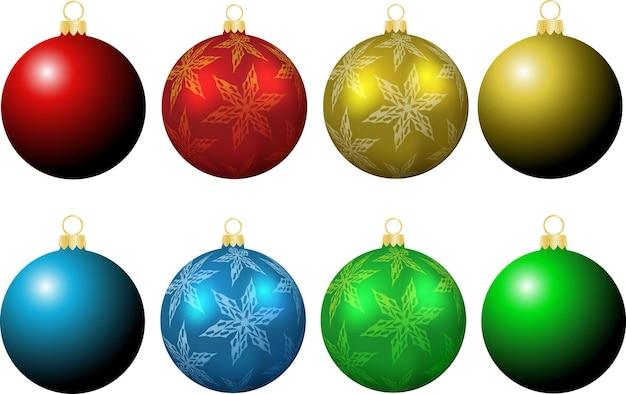 Kollektion weihnachtskugeln, schlicht und mit schneeflocken-design