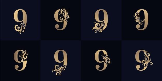 Kollektionsnummer 9 logo mit luxuriösem ornament-design