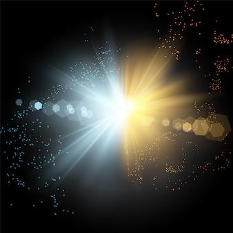 Kollision von zwei kräften aus blauem und goldenem magischem plasma.