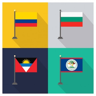 Kolumbien Bulgarien Antigua und Barbuda Belize Flags