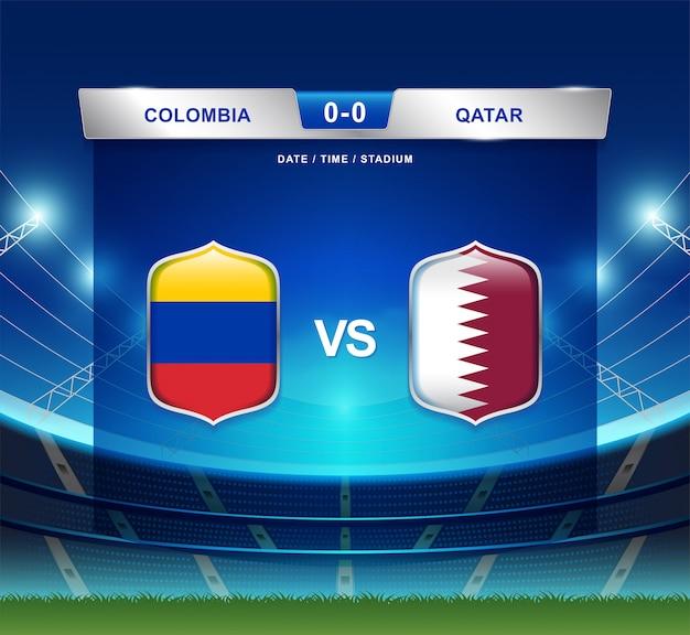 Kolumbien gegen katar-anzeigetafel sendete fußball copa america