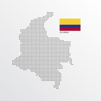 Kolumbien-kartenentwurf mit flaggen- und hellem hintergrundvektor