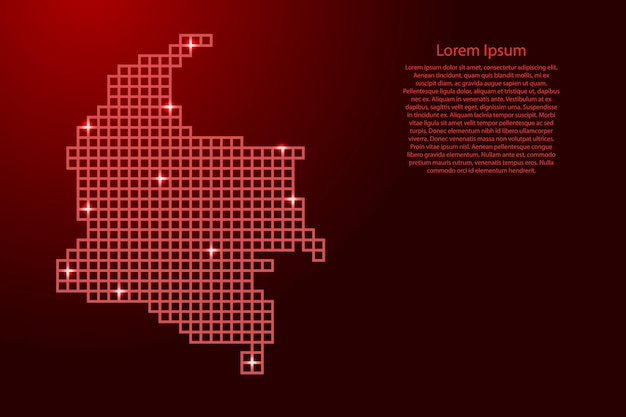 Kolumbien-kartensilhouette aus roten mosaikstrukturquadraten und leuchtenden sternen. vektor-illustration.