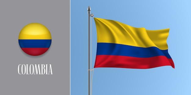Kolumbien winkende flagge auf fahnenmast und rundem symbol, modell der trikolore der kolumbianischen flagge und kreisknopf