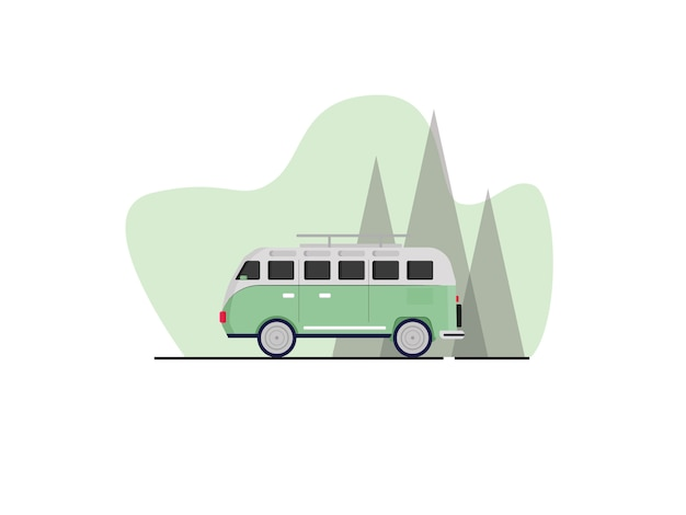 Kombi-auto-illustration im flachen stil